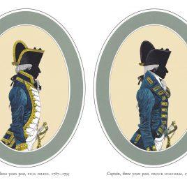 I. Captain, three years post, Full Dress II. Captain, three years post, Frock Dress, 1787-1795