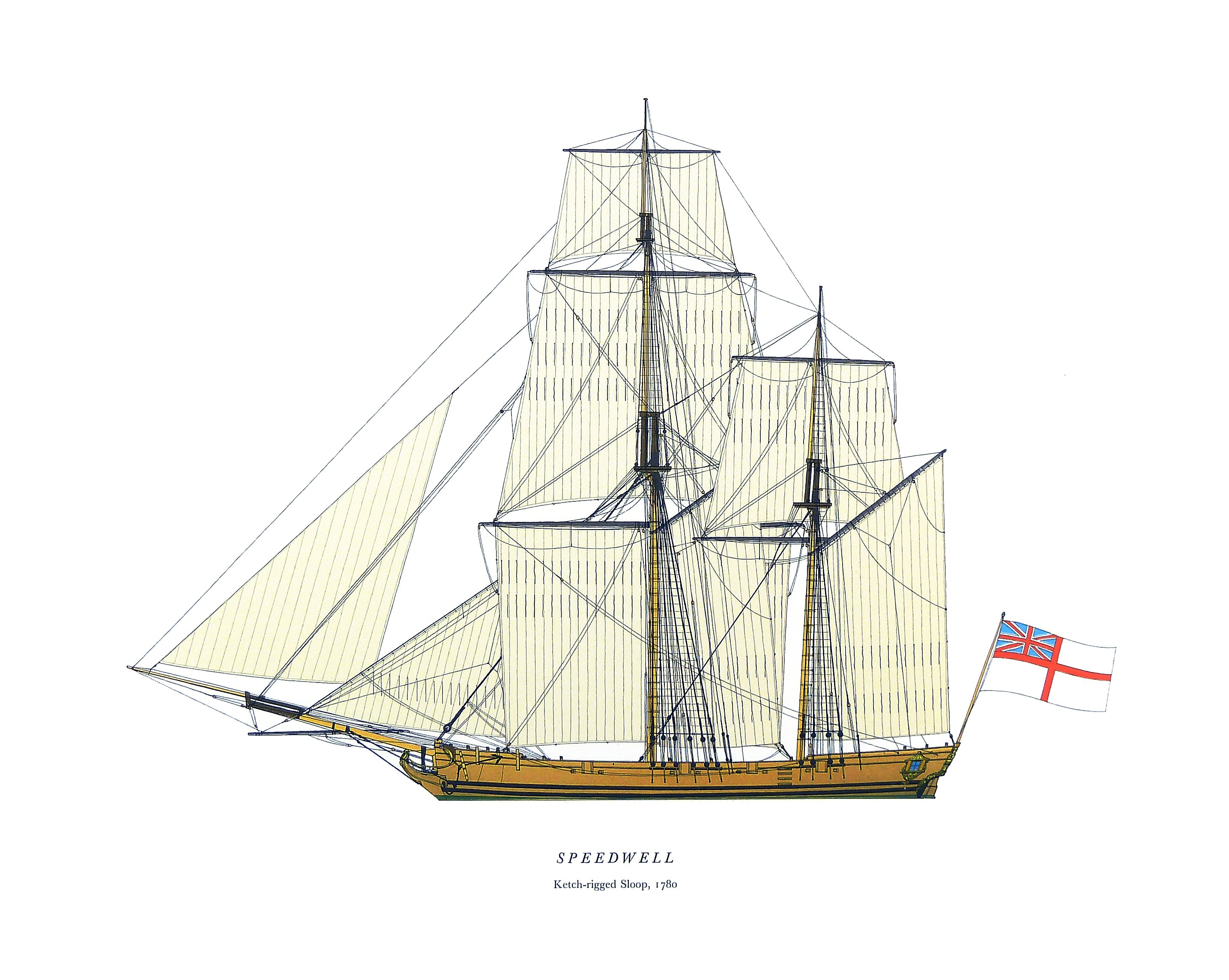HMS Speedwell, Ketch-rigged Sloop, 1780