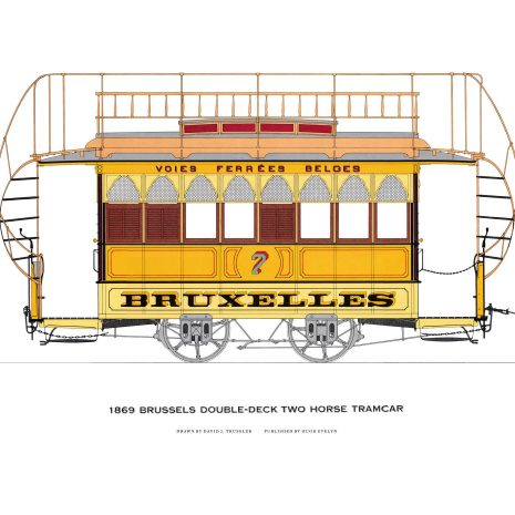 AQ02 Brussels double-deck two horse tramcar 1869