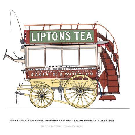 AQ05 London General Omnibus Garden Seat Horse Bus 1895