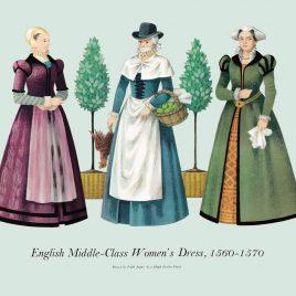 English Middle-Class Women's Dress, 1560-1570