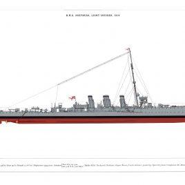 HMS Arethusa, Light Cruiser, 1914