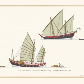 Junk From Amoy, South China (C. 1850) & Arabian Dhow, Trader In The Middle East (1875)