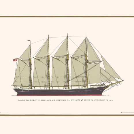 Danish Schooner Four-Masted Fore-and-Aft